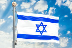Israeli flag waving in blue cloudy sky, 3D rendering Royalty Free Stock Images