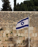Israeli flag at the Western Wall Royalty Free Stock Photography