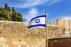 Israeli Flag Western Western` Wailing` Wall of Ancient Temple Jerusalem Israel Royalty Free Stock Photos