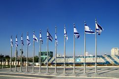 Israeli flags in the courtyard of the Knesset Stock Image