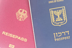 Israeli and German passport Stock Photos