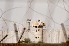 Israeli Gun Tower on Gaza Border Wall Royalty Free Stock Images