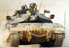 Israeli IDF Tank - Merkava. NACHAL OZ, ISR - NOV 12:Israeli soldiers drive Merkava on NOV 12 2008.It's IDF battle tank  designed for rapid repair of battle Stock Image