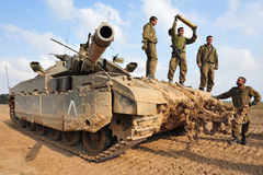 Israeli IDF Tank - Merkava. NACHAL OZ, ISR - NOV 12:Israeli soldiers on Merkava tank on NOV 12 2008.It's IDF battle tank  designed for rapid repair of battle Royalty Free Stock Photos