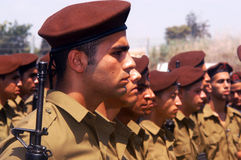 Israeli Infantry Corps Soldiers. WESTERN NEGEV, ISR - JULY 07:Israeli soldiers on July 07 2006.IDF is one of Israeli society's most prominent institutions Stock Images