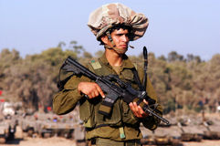 Israeli Infentry Soldier. NACHAL OZ, ISR - JULY 01:Israeli soldiers near Gaza strip on July 01, 2006.The IDF is one of Israeli society's most prominent Stock Photography