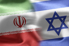 Israeli and Iranian flags. Royalty Free Stock Images