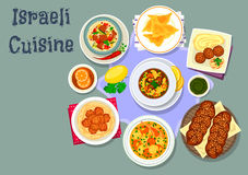 Israeli and jewish cuisine dinner dishes icon Stock Images