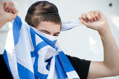 Israeli Jewish Settler Youth with Flag Stock Photos