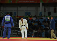 Israeli Judoka Ori Sasson in white won men +100 kg match with Egyptian Islam El Shehaby of the Rio 2016 Olympic Games Stock Images