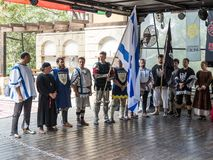 Israeli knights - participants in the festival `The Knights of Jerusalem` stand in the lists and sing the hymn in Jerusalem, Israe Stock Photo