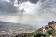 Israeli landscape with castle and sky Royalty Free Stock Photo