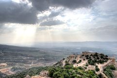 Israeli landscape with castle and sky Royalty Free Stock Photography