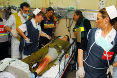 Israeli Medical teams practicing a mass casualty scenario Stock Images