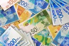 Israeli money notes. Israeli money stack of the new Israeli money bills banknotes of 50, 100 and 200 shekel. New Israeli Shekel series C royalty free stock photo