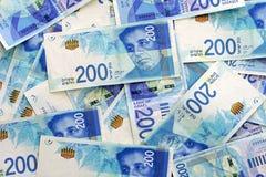 Israeli money notes. Israeli money stack of the new Israeli money bills banknotes of 200 shekel. New Israeli Shekel series C royalty free stock photo