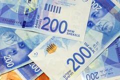 Israeli money notes. Israeli money stack of the new Israeli money bills banknotes of 200 shekel. New Israeli Shekel series C royalty free stock photography