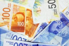 Israeli money notes. Israeli money stack of the new Israeli money bills banknotes of 50, 100 and 200 shekel. New Israeli Shekel series C royalty free stock image