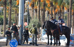 Israeli Mounted Police. JERUSALEM ISRAEL 28 10 2105: Israeli Mounted Police in Jerusalem downtowm Jerusalem, commonly known in Israel by the Hebrew acronym Royalty Free Stock Photos