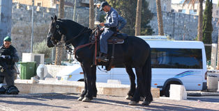 Israeli Mounted Police. JERUSALEM ISRAEL 28 10 2105: Israeli Mounted Police in Jerusalem downtowm Jerusalem, commonly known in Israel by the Hebrew acronym Stock Photography