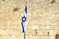 The Israeli National Flag at the Western Wall Stock Photos