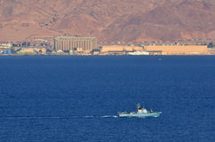 Israeli Navy boat patrolling in the Gulf of Eilat Israel. EILAT, ISR - APRIL 15 2015:Israeli Navy boat patrolling in the Gulf of Eilat, Israel.Israel Defense Stock Photography