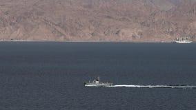 Israeli Navy boat patrolling in the Gulf of Eilat, Israel. EILAT, ISR - APRIL 15 2015:Israeli Navy boat patrolling in the Gulf of Eilat, Israel.Israel Defense stock video