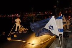 Israeli Navy - Israeli Submarine. HAIFA, ISR - DEC 16 2007: Israeli submarine in Haifa port on Dec16 2007. The Israeli submarine flotilla is elite and voluntary stock image