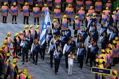 Israeli Olympic team marched into the Rio 2016 Olympics opening ceremony at Maracana Stadium in Rio de Janeiro Royalty Free Stock Photography