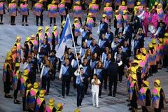 Israeli Olympic team marched into the Rio 2016 Olympics opening ceremony at Maracana Stadium in Rio de Janeiro Stock Photo