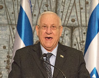 2015 Israeli Parliamentary Election. Reuven Rivlin, president of Israel thanks the Honorable Judge Salim Joubran, chairman of the Central Elections Committee Stock Photos