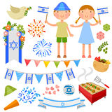 Israeli party. Set of illustrations for Israels Independence Day Stock Photos