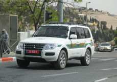 Israeli police car provides security in Jerusalem. Stock Photography