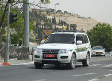Israeli police car provides security in Jerusalem. Royalty Free Stock Photo