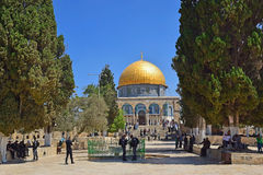Israeli police keep order on the Temple Mount in Jerusalem. JERUSALEM, ISRAEL - June 15, 2017: israeli police keep order on the Temple Mount, Old City of Stock Images