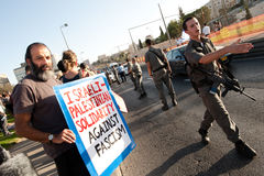 Israeli Police at Settlement Protest Stock Photos