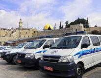 Israeli Police Vehicles. A line of an Israeli Police vehicles parking next to the Western Wall in Jerusalem, Israel Royalty Free Stock Photos