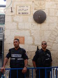 ISRAELI POLICEMEN IN VIA DOLOROSA, JERUSALEM, ISRAEL Royalty Free Stock Images