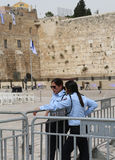 Israeli Policewomen provide security next to the Western Wall in the Old City of Jerusalem. Stock Photography