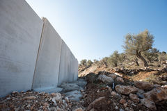 Israeli Separation Wall divides Palestinian land. The Israeli Separation Wall divides olive groves belonging to the West Bank village of Beit Jala, December 30 Royalty Free Stock Photography