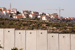 Israeli separation wall and settlement Royalty Free Stock Photo