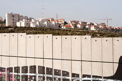 Israeli separation wall and settlement Royalty Free Stock Photography
