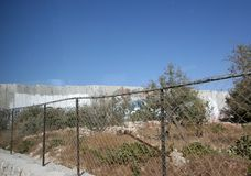 Israeli separation wall in the West Bank town of Bethlehem.  Stock Images