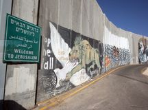 Israeli separation wall in the West Bank town of Bethlehem.  Stock Photos