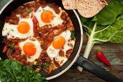 Israeli shakshouka breakfast Royalty Free Stock Photography