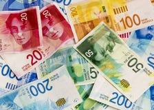 Israeli Shekel banknotes background.Flat Lay. Israeli New Shekel banknotes background.Conceptual Image for Business,Finance and Banking Background Stock Image