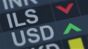 Israeli shekel falling, American dollar rising, exchange rate fluctuations. Stock photo royalty free stock photography