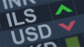 Israeli shekel rising, American dollar falling, exchange rate fluctuations. Stock photo stock photography