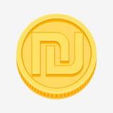Israeli shekel symbol on gold coin. Israeli shekel currency symbol on gold coin, money sign vector illustration isolated on white background Stock Image