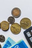 Israeli shekels coins and paper money. Top wiew. Isolated. Vertical shot Stock Photography